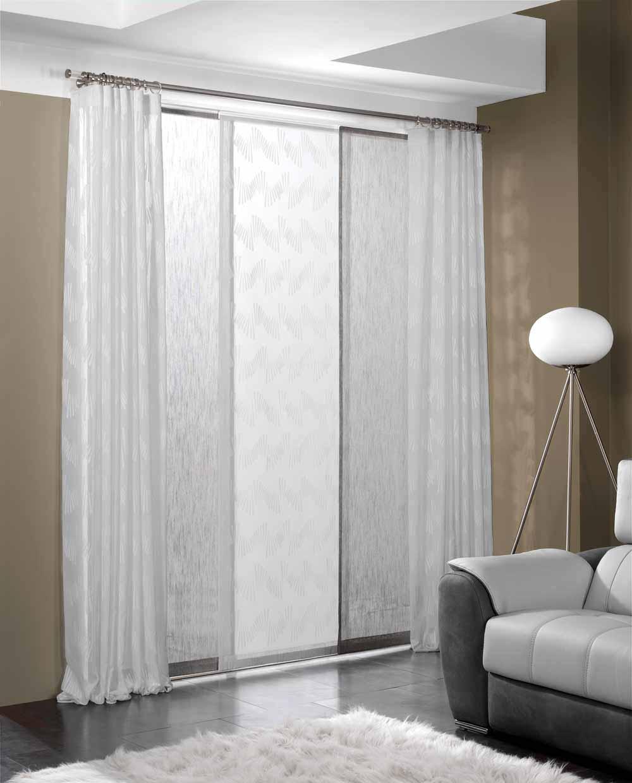 sistema doble de cortinas y paneles japoneses a juego