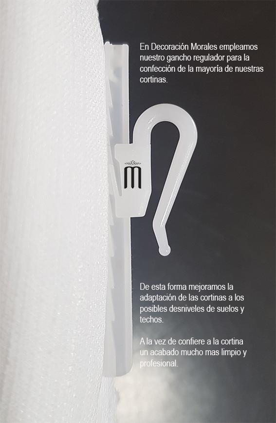 sistema de gancho guiado especial que decoración morales emplea en sus confecciones de cortinas